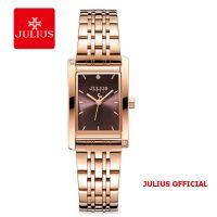 Đồng hồ nữ Julius JA-1257 dây thép vàng đồng mặt đỏ
