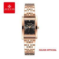 Đồng hồ nữ Julius JA-1257 dây thép vàng đồng mặt đen