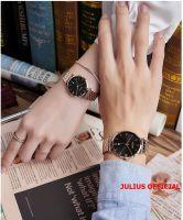Đồng hồ cặp Julius JA-1260 dây thép vàng đồng mặt đen