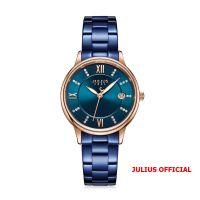 Đồng hồ nữ Julius JA-1218 dây thép xanh - Size 34