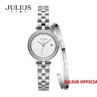 Đồng hồ nữ Julius Star JS-049 dây thép bạc kính Sapphie - Size 24