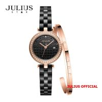 Đồng hồ nữ Julius Star JS-049 dây thép đen kính Sapphie - Size 24
