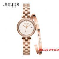Đồng hồ nữ Julius Star JS-049 dây thép vàng đồng kính Sapphie - Size 24