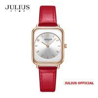 Đồng hồ nữ Julius Star JS-050 dây da đỏ kính Sapphie - Size 26
