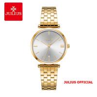 Đồng hồ nữ JULIUS JA-1260 dây thép vàng mặt đen - Size 30