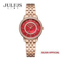 Đồng hồ nữ Julius Star JS-051 dây thép vàng đồng mặt đỏ kính Sapphie - Size 32