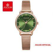 Đồng hồ nữ Julius JA-1268 dây thép vàng đồng mặt xanh lá