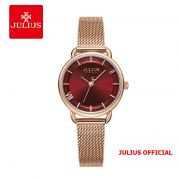 Đồng hồ nữ Julius JA-1268 dây thép vàng đồng mặt đỏ - Size 28