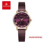 Đồng hồ nữ Julius JA-1268 dây thép nâu tím - Size 28