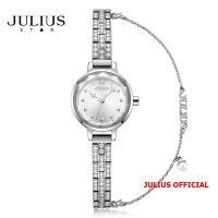 Đồng hồ nữ Julius Star JS-035 dây thép trắng bạc kính sapphire - Size 22