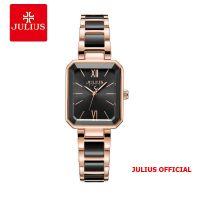Đồng hồ nữ Julius JA-1273 dây thép & đá Ceramic đen - Size 28