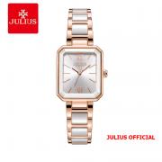 Đồng hồ nữ Julius JA-1273 dây thép trắng hồng & Ceramic - Size 28