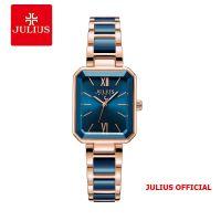 Đồng hồ nữ Julius JA-1273 dây thép & Ceramic xanh - Size 28