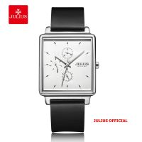 Đồng hồ nam JULIUS JAH-129 dây da đen bạc | Size 38