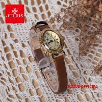 Đồng hồ nữ Julius JA-567 dây da nâu vàng | Size 25