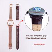 Combo Đồng hồ nữ Julius JA-1242 dây thép lưới vàng đồng + dây nâu - Size 25