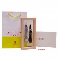 Combo Đồng hồ nữ Julius JA-1242 dây thép bạc + dây nâu - Size 25