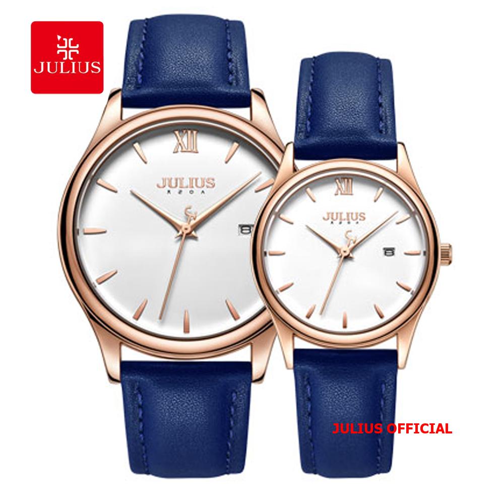 Đồng hồ cặp Julius JA-1309 dây da xanh