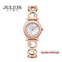 Đồng hồ nữ Julius Star JS-056 dây thép vàng đồng sapphire | Size 24