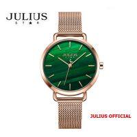 Đồng hồ nữ Julius Star JS-058 dây thép mặt xanh sapphire | Size 34