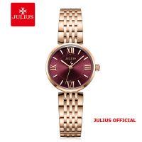 Đồng hồ nữ Julius JA-1282 dây thép mặt đỏ | Size 27