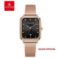Đồng hồ nữ Julius JA-1297 dây thép mặt đen | Size 31