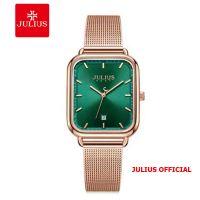 Đồng hồ nữ Julius JA-1297 dây thép mặt xanh | Size 31