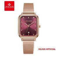 Đồng hồ nữ Julius JA-1297 dây thép mặt đỏ | Size 31