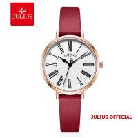 Đồng hồ nữ Julius JA-1300 dây da mặt đỏ | Size 32