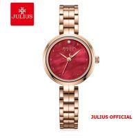 Đồng hồ nữ Julius JA-1294 dây thép mặt đỏ | Size 27