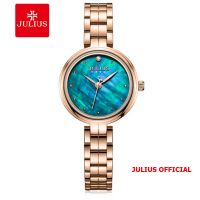 Đồng hồ nữ Julius JA-1294 dây thép mặt xanh | Size 27