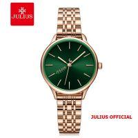 Đồng hồ nữ Julius JA-1298 dây thép mặt xanh | Size 33