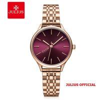 Đồng hồ nữ Julius JA-1298 dây thép mặt đỏ | Size 33