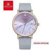 Đồng hồ nữ Julius JA-1312 dây da Xanh xám Size 36