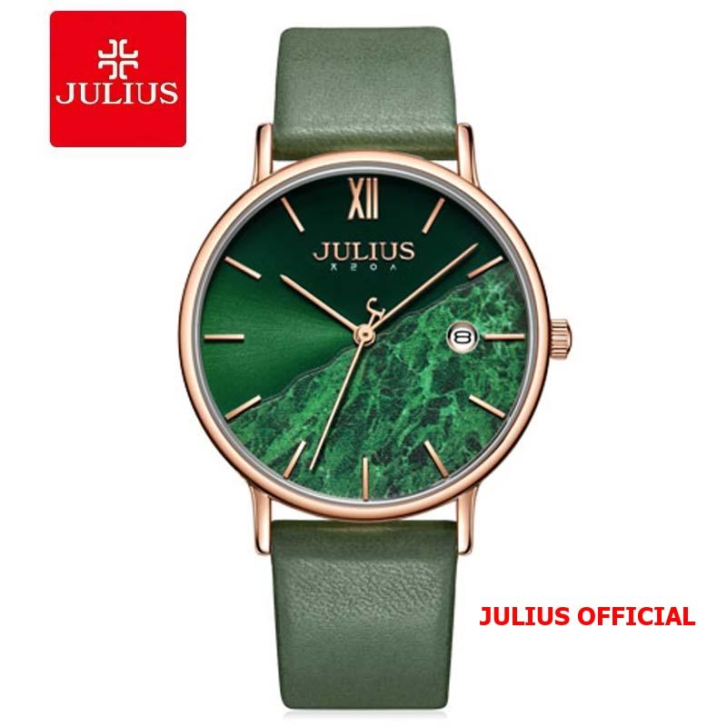 Đồng hồ nữ Julius JA-1312 dây da xanh lá Size 36