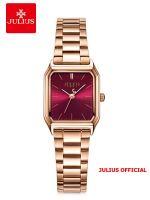 Đồng hồ nữ Julius JA-1304 dây thép vàng đồng mặt đỏ | Size 25