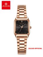 Đồng hồ nữ Julius JA-1304 dây thép vàng đồng mặt đEN | Size 25