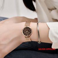 Đồng hồ nữ Julius JA-1302 dây thép vàng đồng mặt nâu |size 26