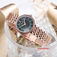 Đồng hồ nữ Julius JA-1302 dây thép vàng đồng mặt xanh| Size 26