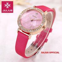 Đồng hồ nữ Julius JA-823 dây da hồng | Size