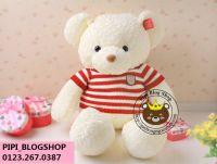 Gấu Teddy lông xoắn áo len sọc đỏ (1m2,1m4)