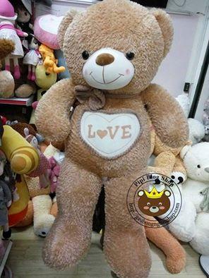 Gấu xù bụng Love nâu (1m4)