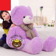 Gấu bông to Teddy tím nơ caro (1m4)