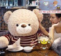 Gấu bông to Teddy len sọc ngang (90cm, 1m2, 1m4, 1m8, 2m)