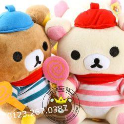 Gấu bông Rilakkuma áo cầm kẹo (20cm)