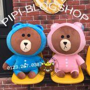 Gấu Line - Brown nón xanh/ hồng (40cm, 60cm, 80cm, 1m)