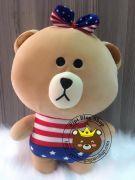 Gấu brown mặc quần cờ mỹ (40cm)