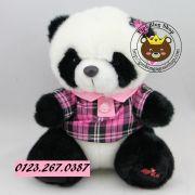 Panda lông dày áo hồng caro (20cm, 35cm)