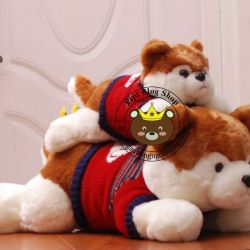 Chó bông Husky nâu áo len I love you (90cm)