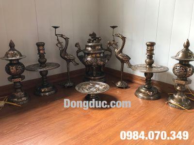 Bộ đồng thờ khảm tam khí 50cm dùng cho bàn thờ rộng 1m76-1m97